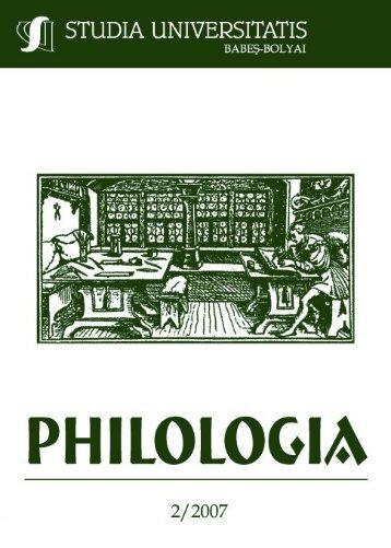 studia universitatis babeş–bolyai philologia