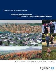 Cadre d'aménagement et orientations gouvernementales