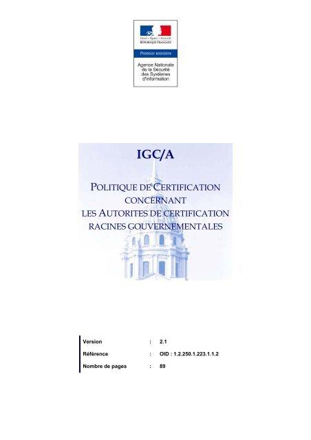 politique de certification de l'infrastructure de gestion de clés ...