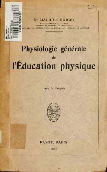 Physiologie generale de l'education physique