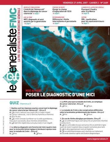POSER LE DIAGNOSTIC D'UNE MICI - Le Généraliste