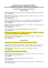 INITIATION A LA THEOLOGIE PRATIQUE COURS L2-L3 ou B2-B3 ...