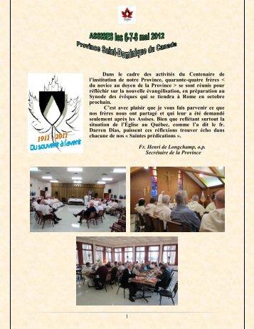 Dans le cadre des activités du Centenaire de - Dominicains du ...