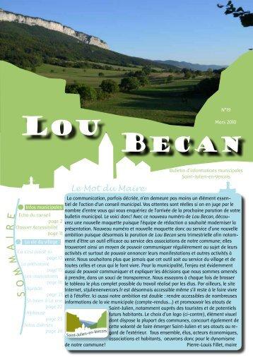 LOU BECAN n° 19 Mars 2010 - Saint Julien en Vercors