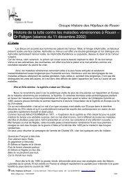 Histoire de la lutte contre les maladies ... - CHU de Rouen