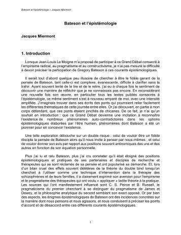 Bateson et l'épistémologie - SFTF