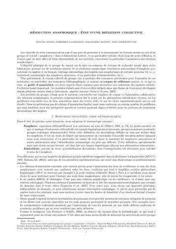 RÉSOLUTION ANAPHORIQUE : ÉTAT D'UNE REFLEXION ...