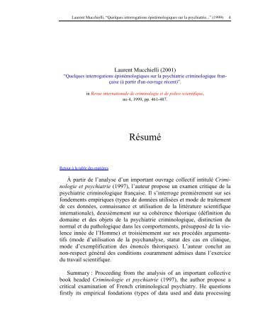 """""""Quelques interrogations épistémologiques sur la ... - Cesdip"""