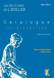 catalogue spiritualites - Editions de l'Atelier