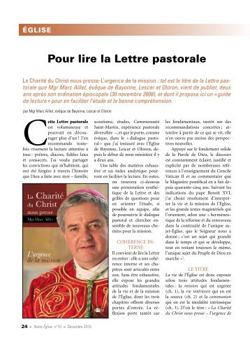Pour lire la lettre pastorale - Diocèse de Bayonne, Lescar et Oloron