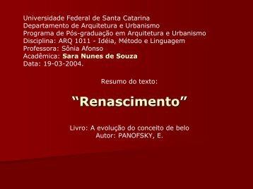 síntese Panofsky - Renascimento - Sonia Afonso