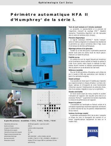 Périmètre automatique HFA II d'Humphrey® de la ... - Carl Zeiss SAS