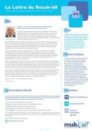 Téléchargez la newsletter - Resah-idf, Réseau des Acheteurs ...