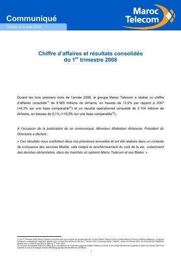Chiffre d'affaires et Résultats - 1er trimestre 2008 - Maroc Telecom