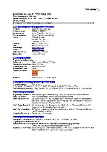 Sicherheitsdatenblatt 1907/2006/EG (DE)