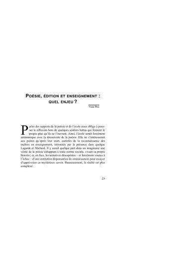 POÉSIE, ÉDITION ET ENSEIGNEMENT : QUEL ENJEU ? - WebLettres