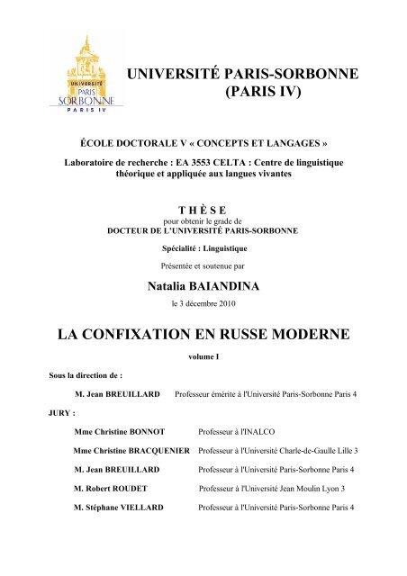 La Confixation En Russe Moderne E Sorbonne
