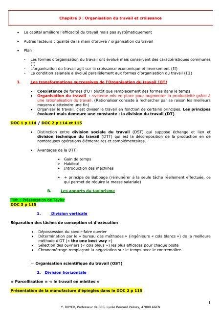 Chapitre 3 Organisation Du Travail Et Croissance Lycee