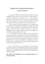 CRITIQUE DE LA RATIONALISATION DOUCE - Jean-Pierre Durand
