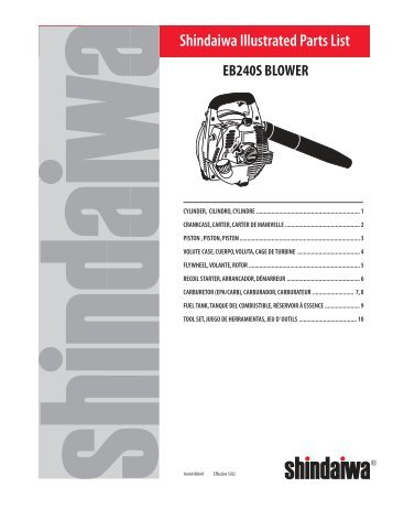 Shindaiwa Illustrated Parts List - Hawaii Grower Products
