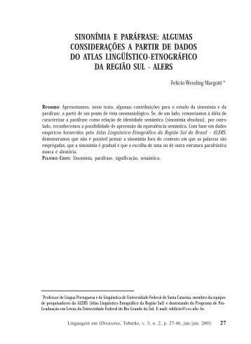 sinonímia e paráfrase - Programa de Pós-Graduação em Ciências ...