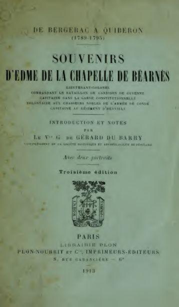 Souvenirs d'Edme de la Chapelle de Béarnès : lieutenant-colonel ...