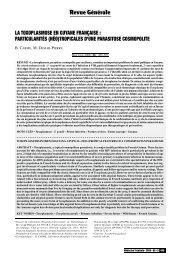 La toxoplasmose en Guyane française - Revue Médecine Tropicale