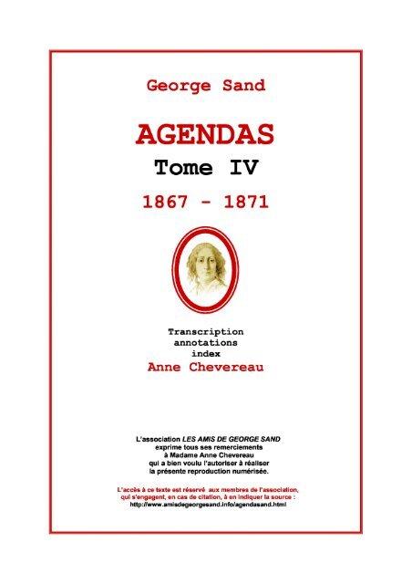 Agendas Les Amis De George Sand