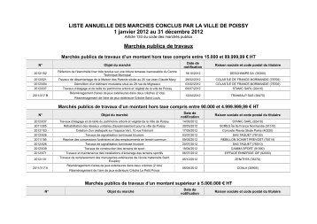 Liste annuelle des marchés 2012 - Ville de Poissy