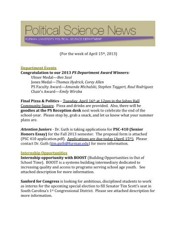(For the week of April 15th, 2013) Department Events Congratulation ...