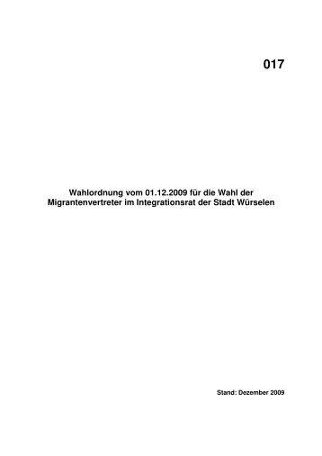 Wahlordnung für die Wahl der Migrantenvertreter im ... - Würselen