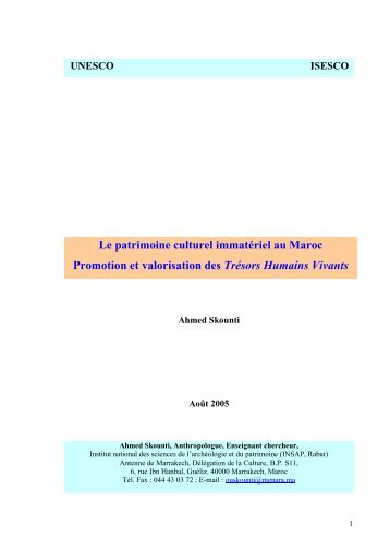 UNESCO ISESCO Le patrimoine culturel ... - Ahmed Skounti
