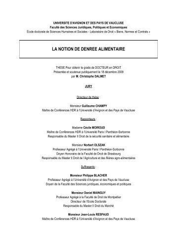 La notion de denrées alimentaires - Université d'Avignon et des ...