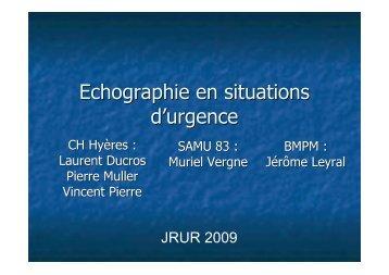 Echographie en situations d'urgence - JRUR