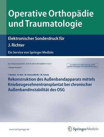 Operative Orthopädie und Traumatologie - Orthopädische Klinik ...