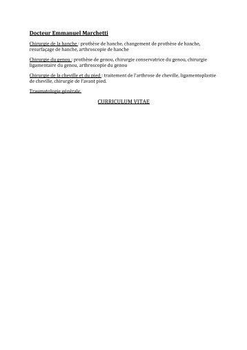 Docteur Emmanuel Marchetti CURRICULUM VITAE - Dr Emmanuel ...