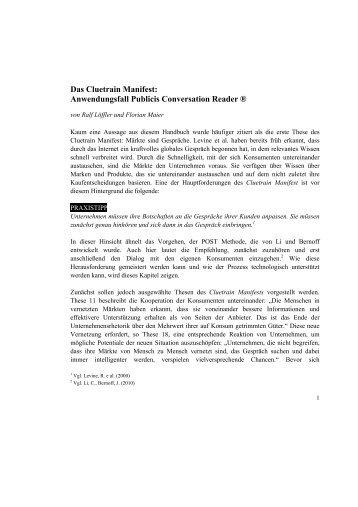 Das Cluetrain Manifest: Anwendungsfall Publicis Conversation ...