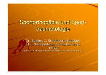 traumatologie - Sportmedizin, Prävention und Rehabilitation