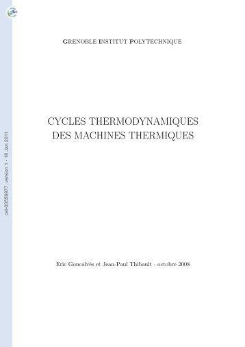Cycles thermodynamiques des machines thermiques