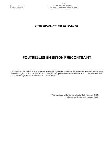 POUTRELLES EN BETON PRECONTRAINT - CSTB