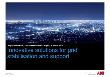 Innovative solutions for grid stabilisation and support