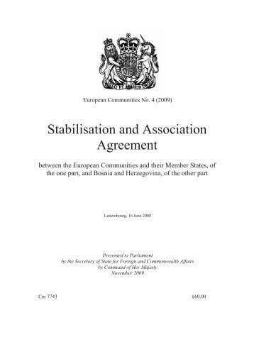 Stabilisation and Association Agreement - Official Documents