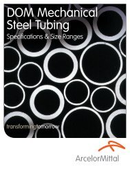 DOM Mechanical Steel Tubing - Specifications & Size - ArcelorMittal ...