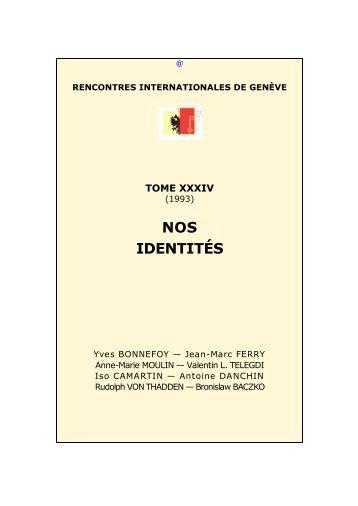 34. 1993. -- Nos identités - Rencontres Internationales de Genève