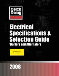 Electrical Specifications & Selection Guide - Delco Remy
