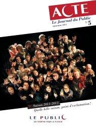 Acte 5 le journal du public - Théâtre Le Public