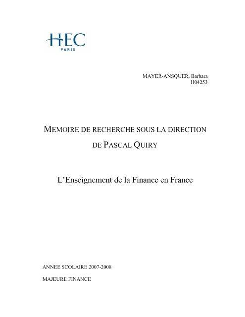 Lenseignement De La Finance En France Vernimmennet