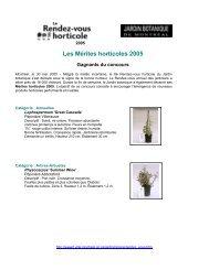 Gagnants du concours 'Les Mérites horticoles 2005' - Ville de Montréal