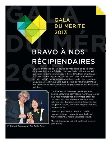 Bulletin spécial des récipiendaires Gala 2013
