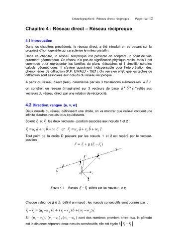 Chapitre 4 - Cours et Exercices corriges : Cristallographie, Diffraction